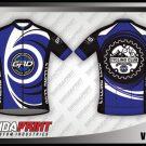 Desain Baju Sepeda Gowes Printing Vortex Warna Biru Hitam Putih Bergelombang