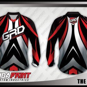 Desain Baju Sepeda MTB The Groove Warna Hitam Putih Merah