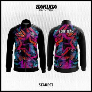 Desain Jaket Printing Motif Bintang Warna Hitam