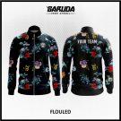 Desain Jaket Printing Warna Hitam Motif Bunga Yang Anggun