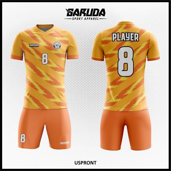 Desain Jersey Futsal Printing Uspront Warna Orange Yang Memukau