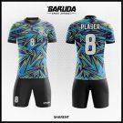 Desain Jersey Sepakbola Full Print Sharent Warna Biru Hitam List Kuning