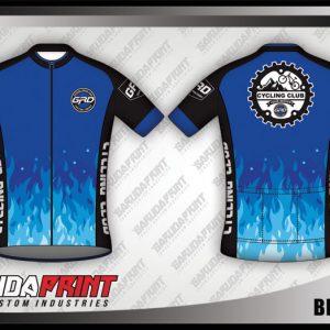 Desain Jersey Sepeda Road Bike Blue Fire Warna Biru Hitam