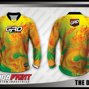 Desain Kaos Sepeda Gunung The Dragon Motif Naga Warna Hijau Kuning