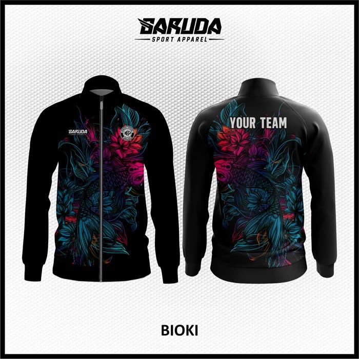 Desain Jaket Printing Motif Bunga Warna Hitam Yang Menawan