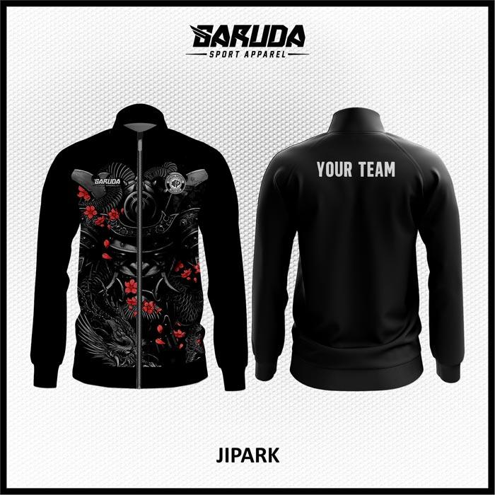 Desain Jaket Printing Warna Hitam Motif Tato Sangat Unik