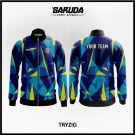 Desain Jaket Printing Warna Biru Kuning Hitam Bergaya Lebih Trendy