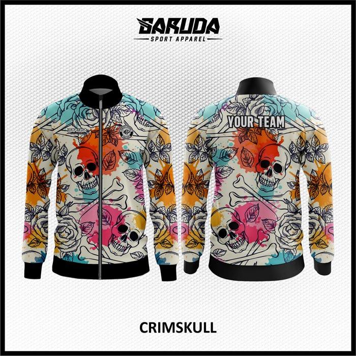Desain Jaket Printing Warna Putih Motif Tengkorak Dan Bunga