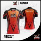 Desain Jersey Esports Printing Raidsut Warna Merah Hitam Motif Batik