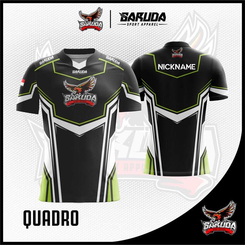 Desain Kaos Gaming Esport Printing Quadro Warna Hitam Yang Elegan