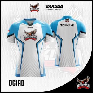Desain Baju Gaming Esport Ociad Warna Putih Biru Tosca Yang Trendy