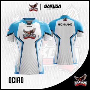 Desain Baju Gaming Esport Ociad Warna Putih Biru Tosca ...