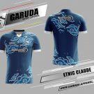 Desain Baju Badminton Printing Etnic Claude Warna Biru Yang Unik