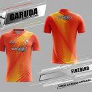 Desain Jersey Badminton Printing Firebird Warna Orange Bergaya Trendy
