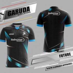 Desain Seragam Badminton Printing Future Warna Hitam Paling Menggoda