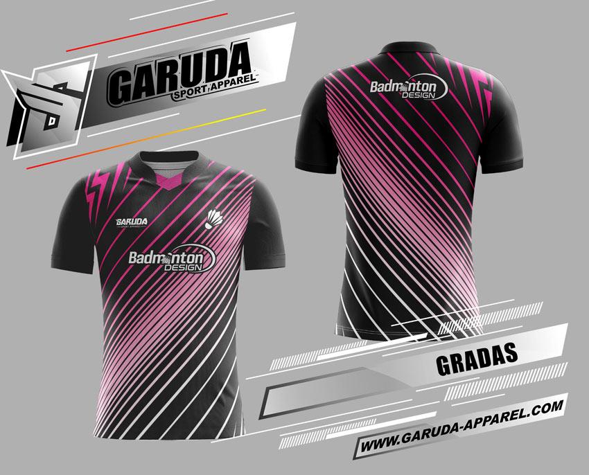 Desain Baju Badminton Printing Gradas Warna Hitam Strip Ungu Kekinian