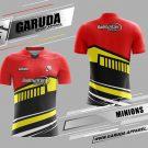 Desain Baju Badminton Minions Warna Merah Kuning Hitam Terbaru