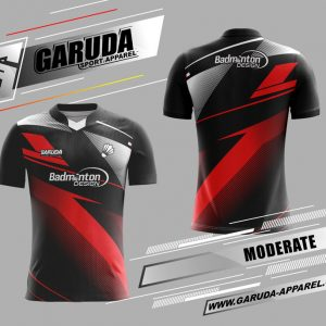 Desain Baju Badminton Printing Moderate Warna Hitam Merah Modern