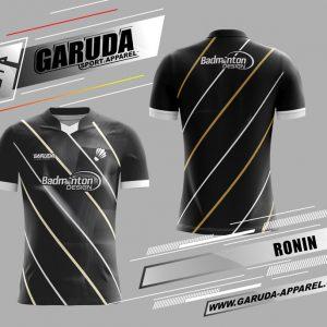 Desain Baju Badminton Ronin Warna Hitam Minimalis Paling Kece