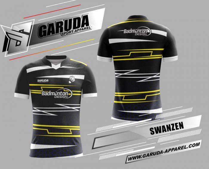 Desain Baju Badminton Swanzen Warna Hitam