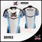 Desain Baju Esport Bryned Warna Putih Yang Dinamis