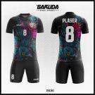 Desain Baju Futsal Bioki Warna Hitam Motif Abstrak Super Keren