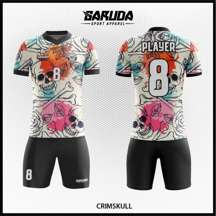 Desain Baju Futsal Crimskull Warna Putih Hitam Motif Tengkorak