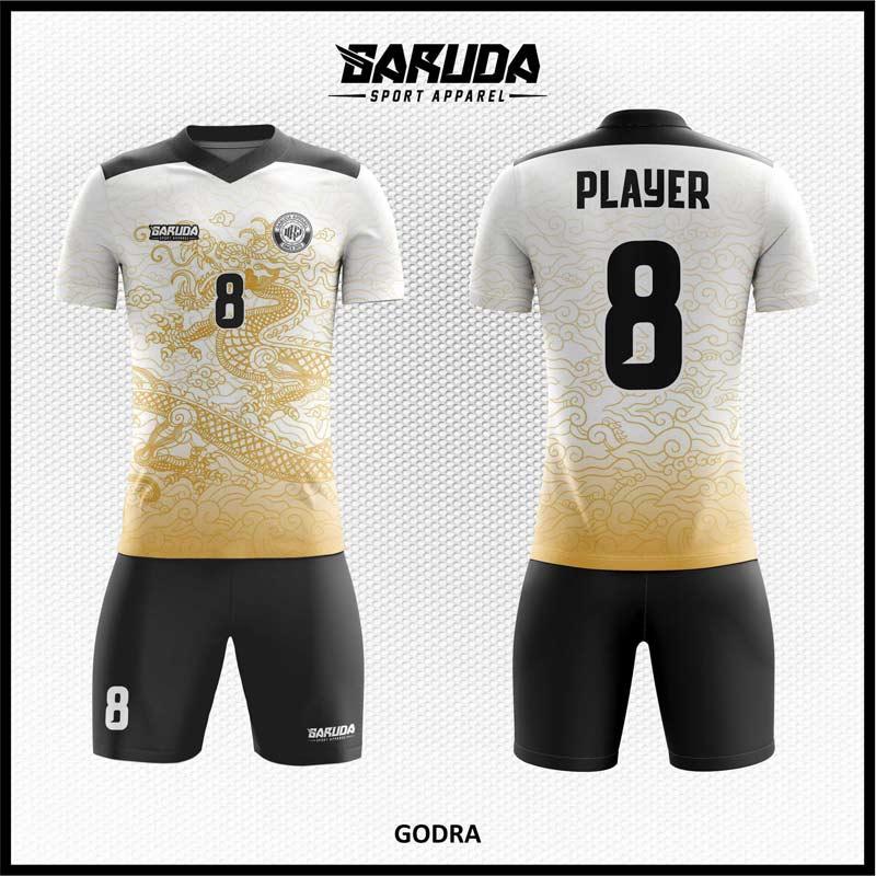 Desain Baju Futsal Godra Motif Naga Warna Putih Hitam
