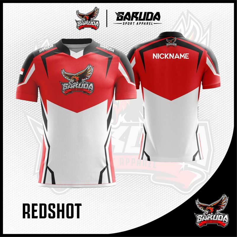 Desain Baju Gaming Redshot Warna Merah Putih Paling Keren