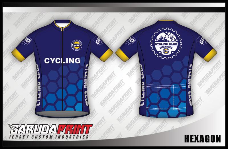 Desain Baju Sepeda Roadbike Hexagon Warna Biru Berornamen