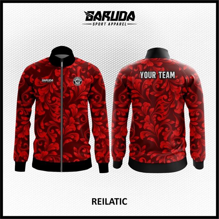 Desain Jaket Printing Motif Batik Warna Merah