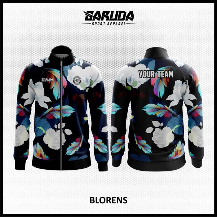 Desain Jaket Printing Motif Bunga Warna Hitam