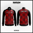 Desain Jaket Printing Warna Merah Hitam Motif Kotak Kotak Terbaru