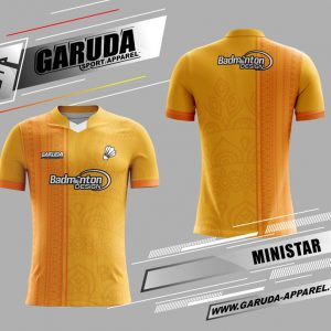 Desain Jersey Badminton Ministar Motif Batik Warna Orange