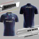 Desain Jersey Badminton New Matrix Warna Biru Motif Garis Menyala