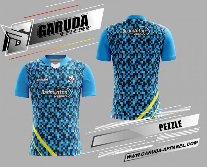 Desain Jersey Badminton Pezzle Warna Biru Siap Tampil Beda