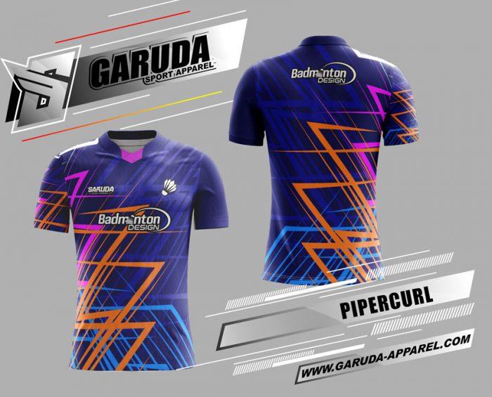 Desain Jersey Badminton Printing Pipercurl Warna Biru Paling Keren
