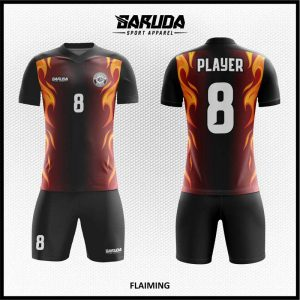 Desain Jersey Bola Futsal Flaiming Motif Bunga Api