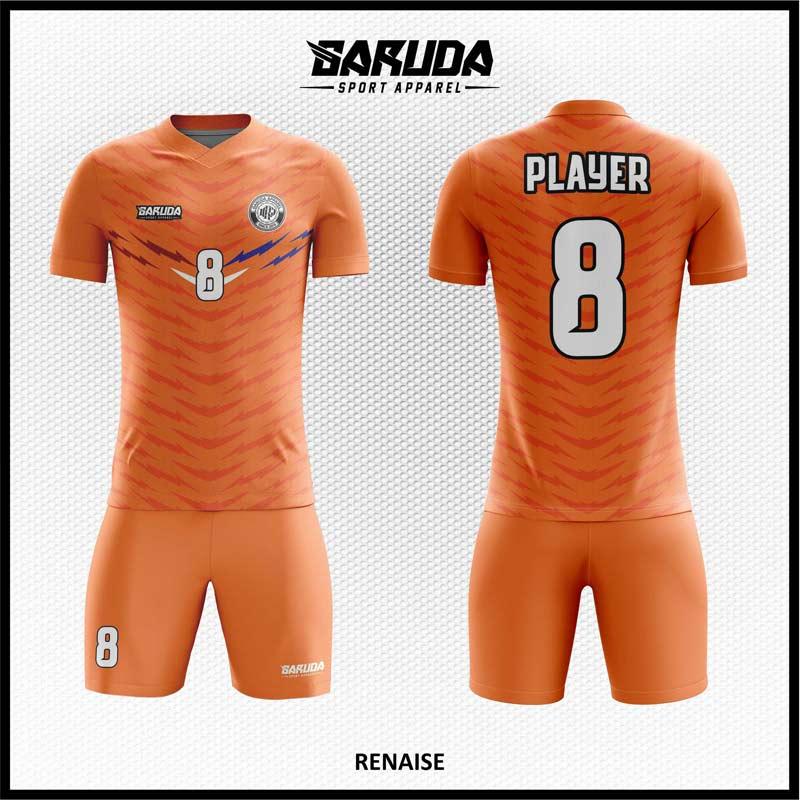 Desain Jersey Futsal Printing Renaise Warna Orange Minimalis