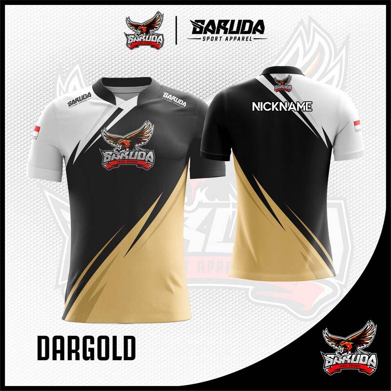 Desain Jersey Gaming Esport Dargold Warna Putih Hitam Kuning