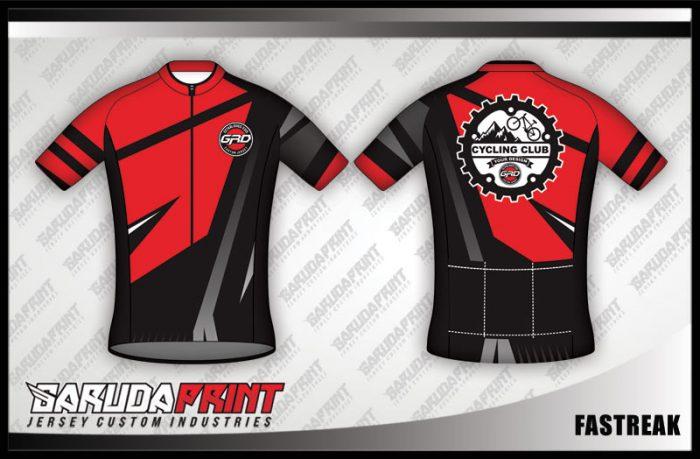 Desain Jersey Sepeda Gowes Fastreak Warna Merah Hitam