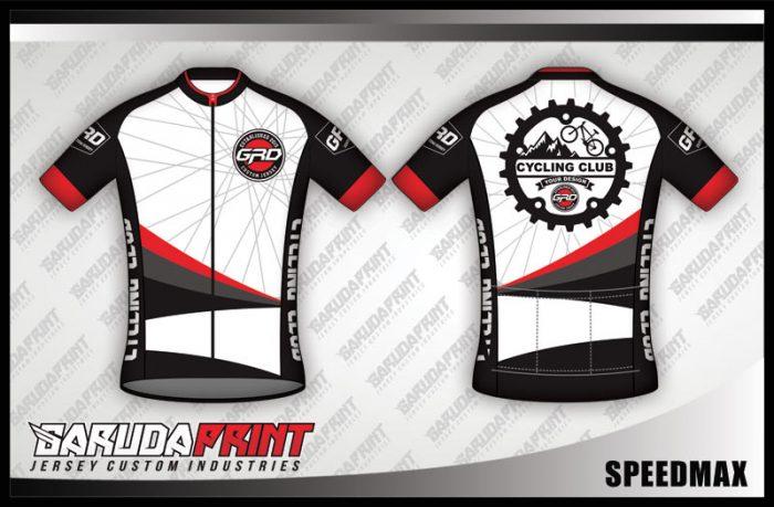 Desain Jersey Sepeda Gowes Speedmax Warna Putih Hitam