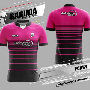 Desain Kaos Badminton Ponky Warna Pink Hitam Untuk Tampil Beda
