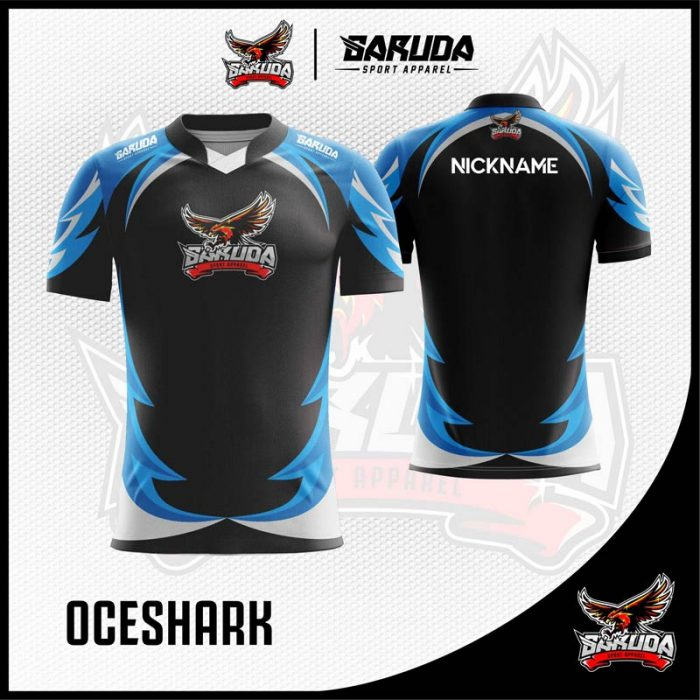Desain Kaos Gaming Esport Oceshark Warna Hitam Biru Bergelombang