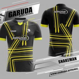 Desain Seragam Badminton Snakeman Warna Hitam Yang Menawan