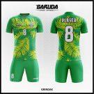 Desain Kostum Sepakbola Grindak Warna Hijau Motif Daun