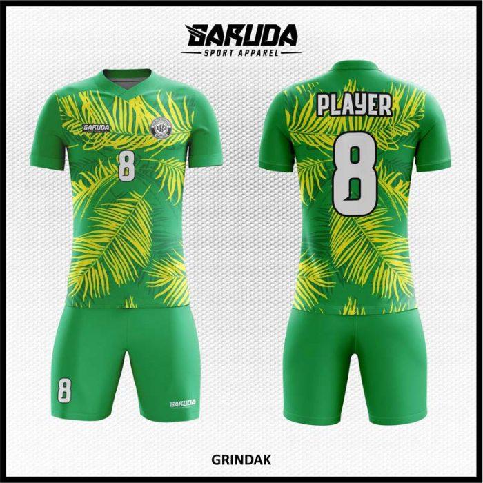 Desai Kostum Sepakbola Grindak Warna Hijau Motif Daun