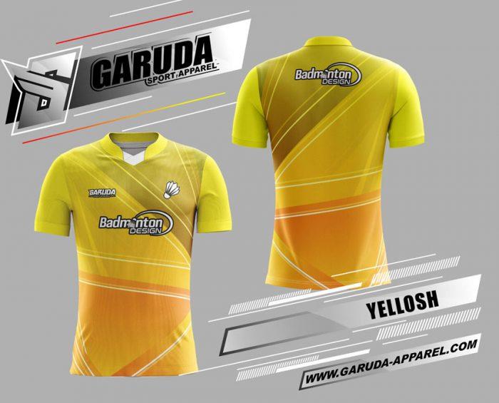 Desain Baju Badminton Yellosh Gradasi Warna Kuning