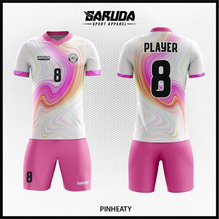 Desain Baju Bola Futsal Pinheaty Warna Putih Pink Motif Bergelombang