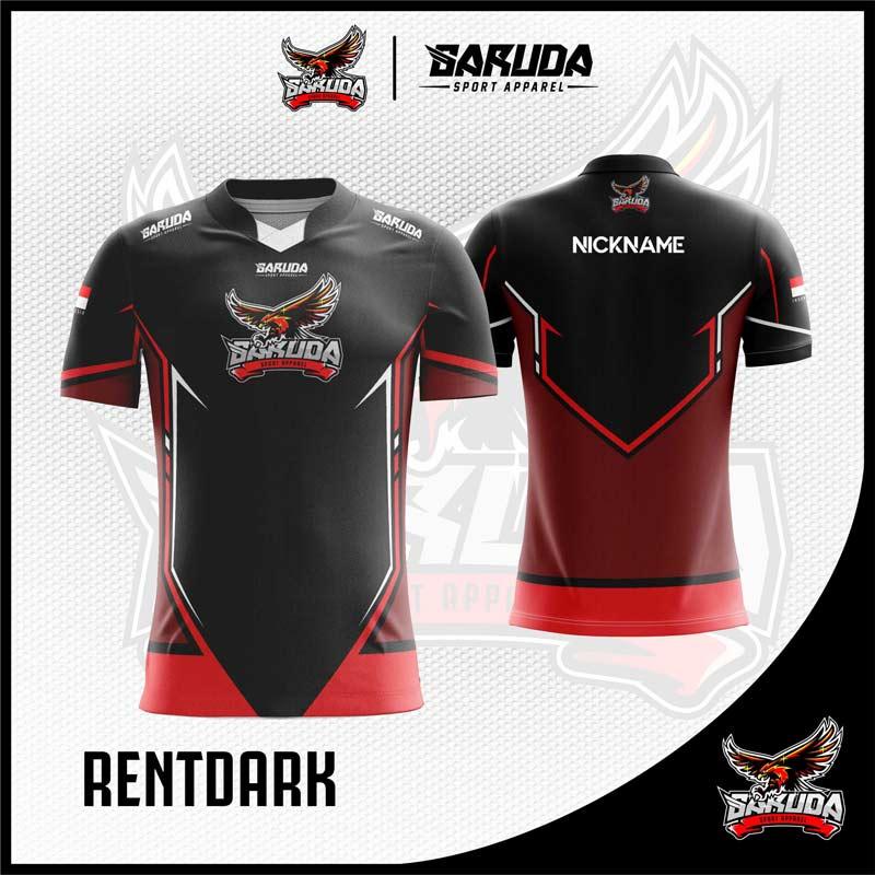 Desain Baju Gaming Esport Rentdark Warna Hitam Merah ...